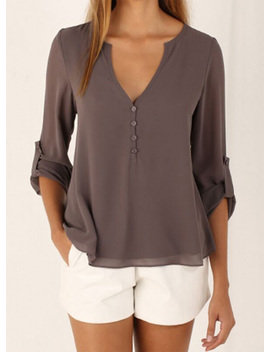 "<Span Itemprop=""Name"" Content=""V Neck Long Sleeve Solid Irregular Blouse"">V Neck Long Sleeve Solid Irregular Blouse</Span> by Oasap"