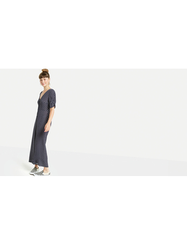 Navy Lorna Spot Ruched Sleeve Jumpsuit by Nobody's Child