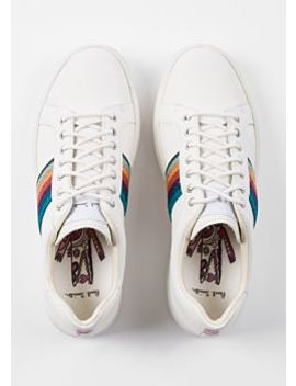 Women's White 'artist Stripe' Leather 'lapin' Trainers by Paul Smith