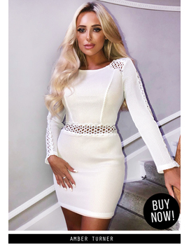 Cream Mesh Sleeves With Crochet Detailing Mini Dress by Ax Paris