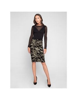 Velvet Embroidered Skirt In Black And Gold by Wet Seal