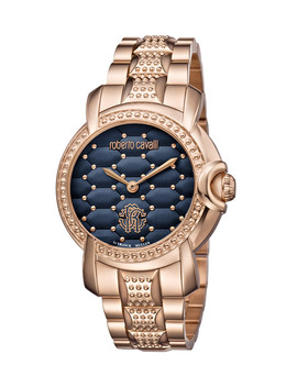 Rose Gold Tone & Blue Cushion Watch by Roberto Cavalli By Franck Muller                              Sold Out