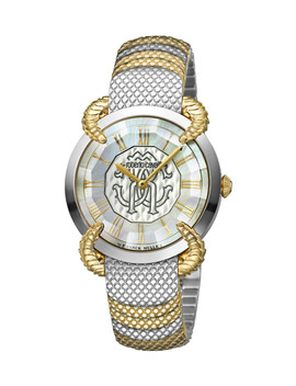 Silver Tone & Gold Tone Steel Watch by Roberto Cavalli By Franck Muller                              Sold Out