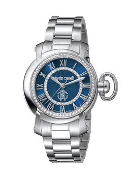 Blue & Silver Tone Swiss Quartz Watch by Roberto Cavalli By Franck Muller                              Sold Out