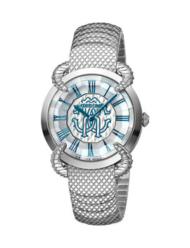 Silver Tone & Blue Stainless Steel Watch by Roberto Cavalli By Franck Muller                              Sold Out