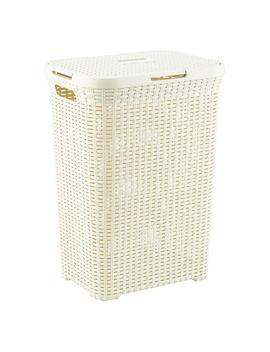 Ivory Rectangular Basketweave Hamper by Container Store