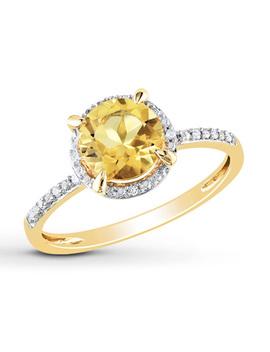 Round Citrine Ring 1/20 Ct Tw Diamonds 10 K Yellow Gold by Kay Jewelers