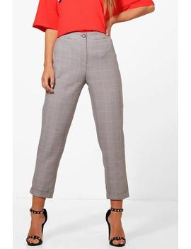 Petite Dogtooth Check Tapered Trouser by Boohoo