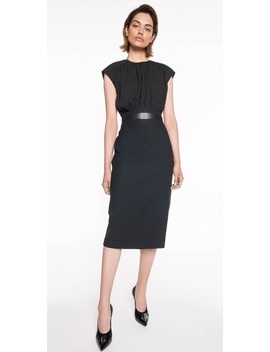 Gathered Blouson Pencil Dress by Cue