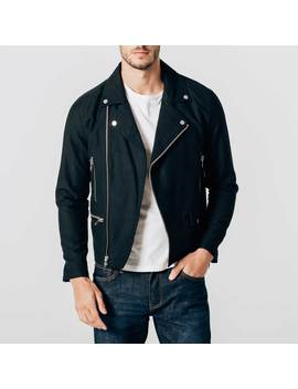 Mens Cotton Moto Jacket In Black by Dstld