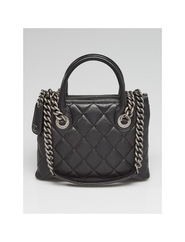 Black Quilted Leather Small Boy Chained Tote Bag by Chanel