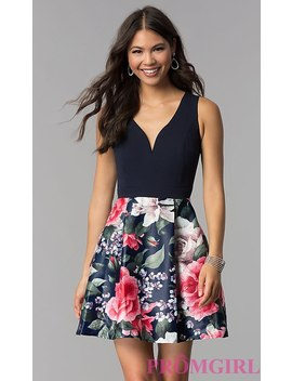Sleeveless Short Homecoming Dress With Print Skirt by Promgirl