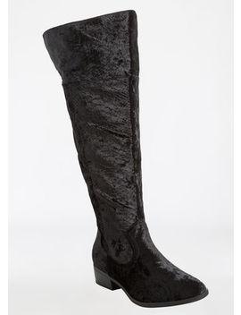 Over The Knee Crocodile Print Velvet Flat Boot   Wide Width by Ashley Stewart