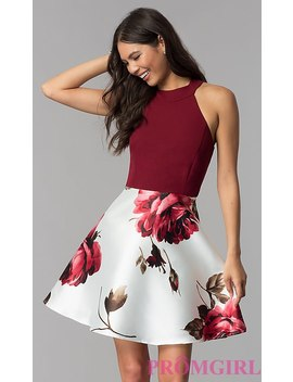 A Line Short Print Skirt Homecoming Dress by Promgirl
