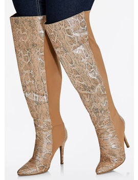 Tall Mixed Snakeskin Boots   Wide Width, Wide Calf by Ashley Stewart