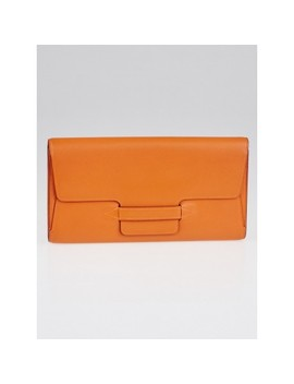 Orange Swift Leather Spiratek Travel Wallet by Hermes