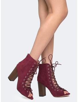 Lace Up Peep Toe by Zooshoo