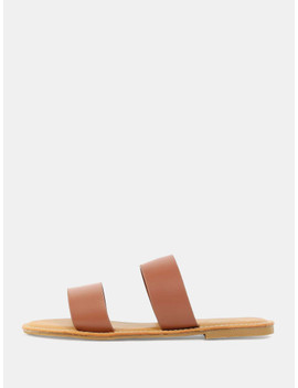 Open Toe Double Strap Sandals Tan by Sheinside