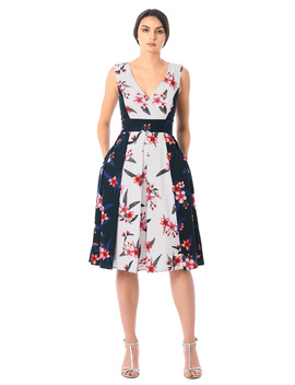 Two Tone Floral Print Crepe Surplice Dress by Eshakti