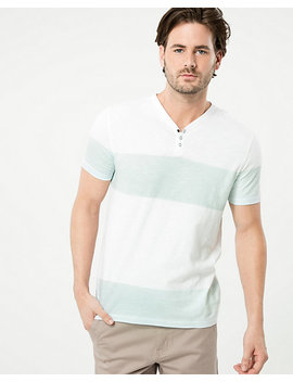 Stripe Cotton Slub Henley Top by Le Chateau