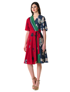 Flutter Sleeve Stripe Floral Print Crepe Wrap Dress by Eshakti