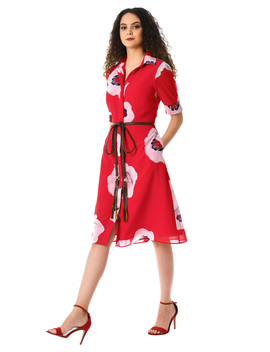 Oversize Bloom Print Faux Leather Tie Shirtdress by Eshakti