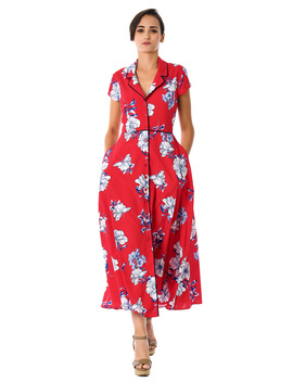 Floral Print Piped Trim Crepe Maxi Shirtdress by Eshakti