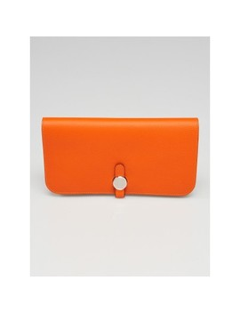 Feu Evercolor Leather And Palladium Plated Dogon Recto Verso Wallet by Hermes