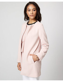 Rib Knit Open Front Coat by Le Chateau
