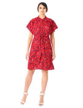 Tie Waist Floral Print Crepe Shirtdress by Eshakti