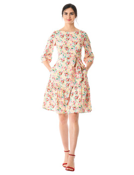 Flounce Hem Floral Crepe Sash Dress by Eshakti