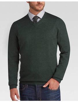 Joseph Abboud Dark Green V Neck Merino Wool Sweater by Mens Wearhouse