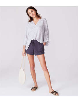 Lou &Amp; Grey Softened Spacedye Split Neck Top by Lou & Grey