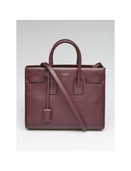Burgundy Leather Small Sac De Jour Tote Bag by Yves Saint Laurent