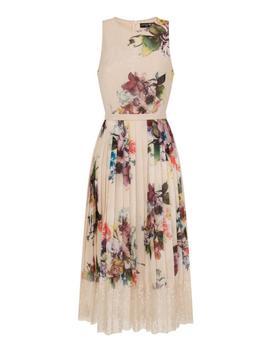 **Little Mistress Cream Floral Print Midi Skater Dress by Dorothy Perkins
