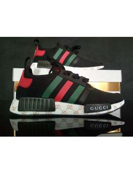 Custom Mens Adidas Casual Shoes Run Nmd Gucci Sneakers Black Color Athletic Shoe by Adidas