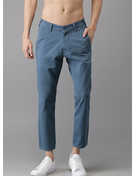 Blue Solid Chinos by Moda Rapido