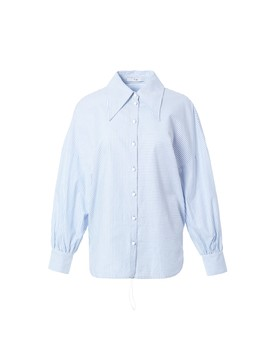 Striped Oxford Oversized Shirt With Hem Detail by Tibi