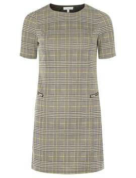 Petite Grey Checked Mini Shift Dress by Dorothy Perkins
