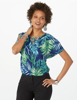Palm Split Sleeve Crisscross Blouse by Dressbarn