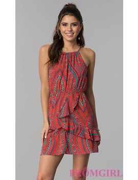Short Print Coral Casual Dress by Promgirl