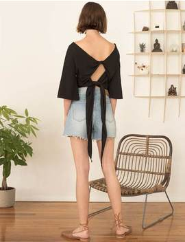 Tie Back Black Tee by Pixie Market