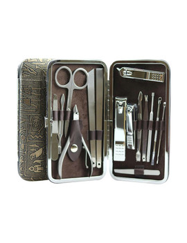 15 Piece Manicture & Pedicure Set // Stainless Steel + Brown Leather Case by Touch Of Modern