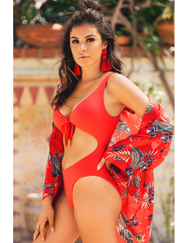 Hidden Treasure Swimsuit   Red by Lola Shoetique