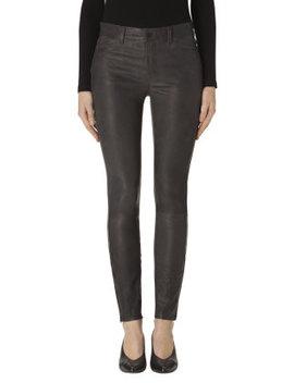 L8001 Mid Rise Super Skinny Leather Legging In Dark Platinum by J Brand