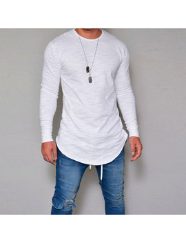 Mens Breathable Solid Color Irregular Hem O Neck Long Sleeve Casual T Shirt by Newchic