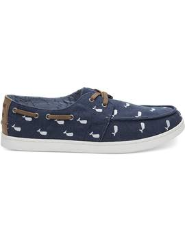 Oceana Washed Canvas Embroidered Whale Men's Culver Boat Shoes by Toms