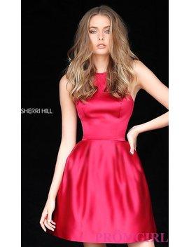 High Neck Halter Sherri Hill Satin Homecoming Dress by Promgirl