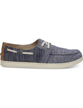 Navy Chambray Mix Men's Culver Boat Shoes by Toms