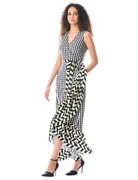Ruffle Check Print Crepe Wrap Dress by Eshakti